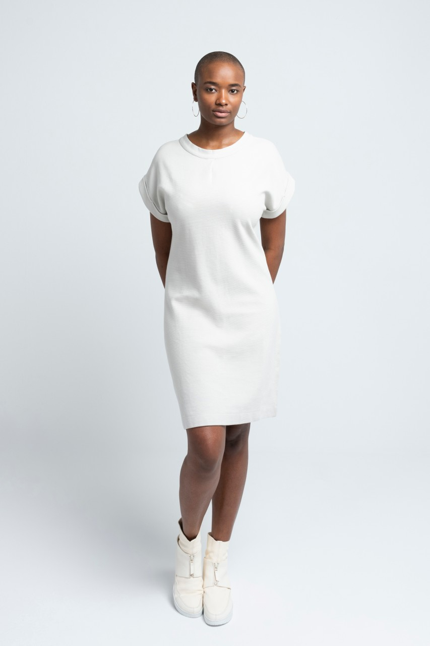 CAMILLE DRESS cotton rib pearl grey