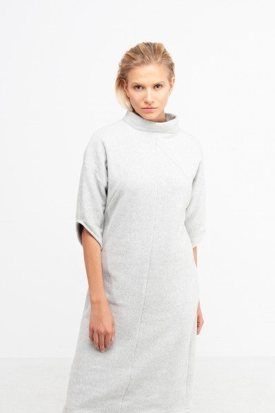 YOKO DRESS cotton fleece dusty grey
