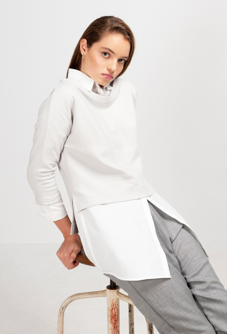 MILEVA SWEATER cotton pearl grey