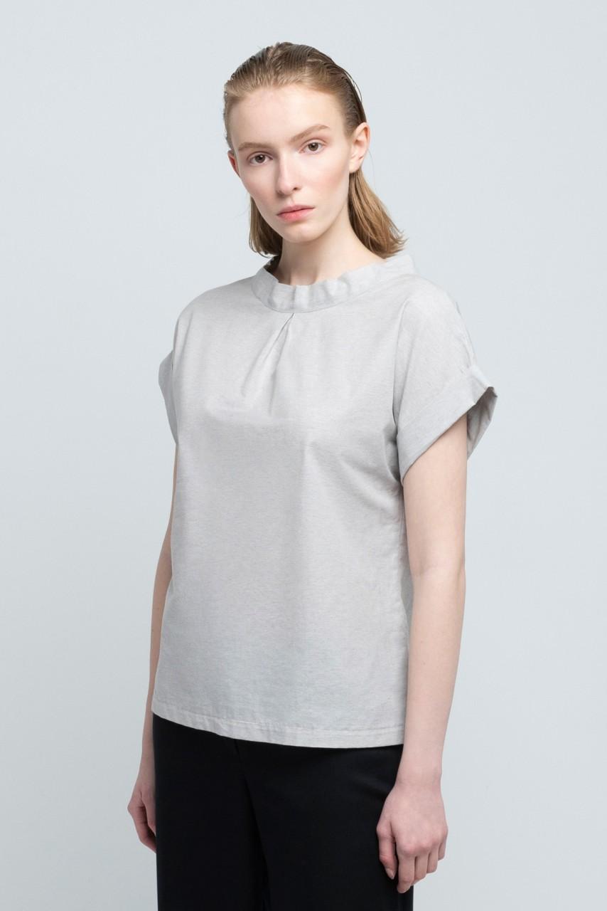JANE BLOUSE cotton melange dusty grey