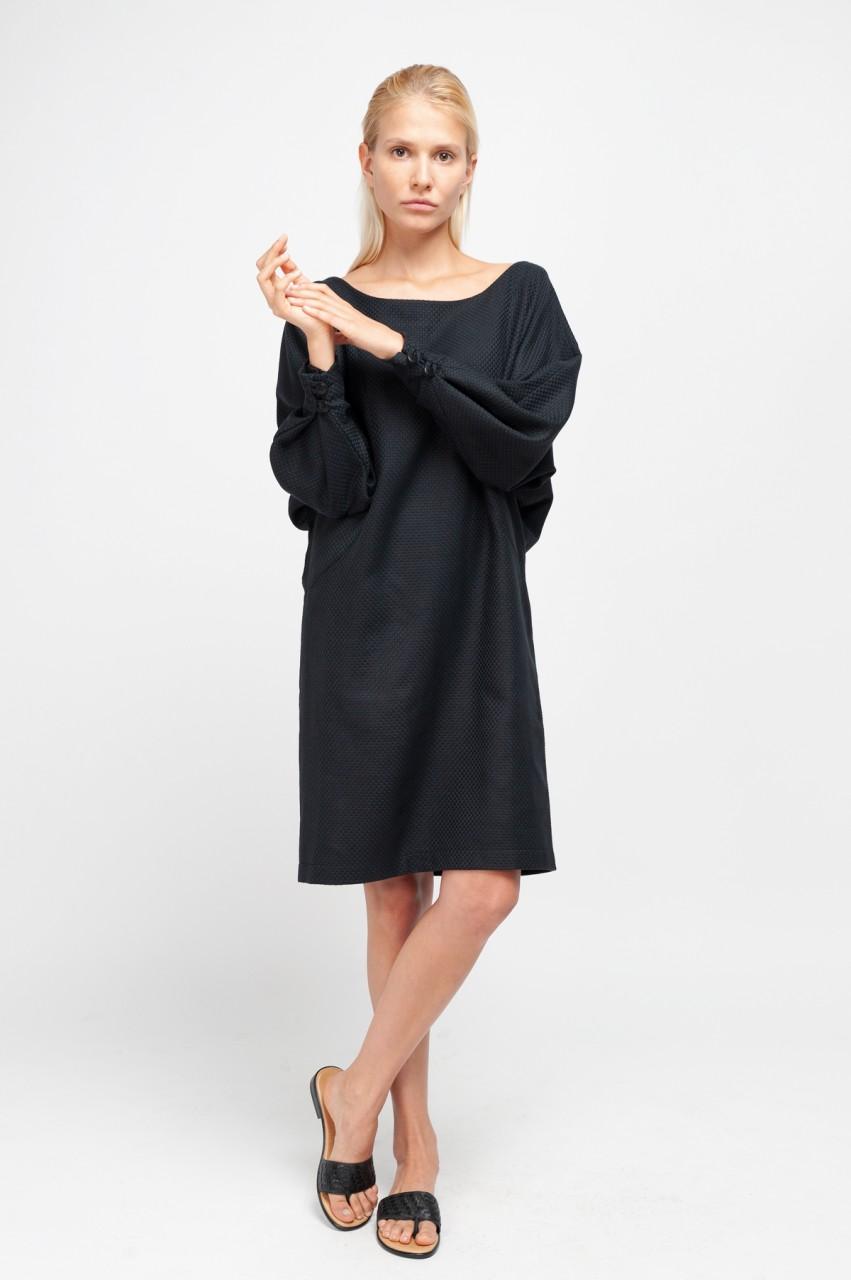 MERYL DRESS cotton structure black