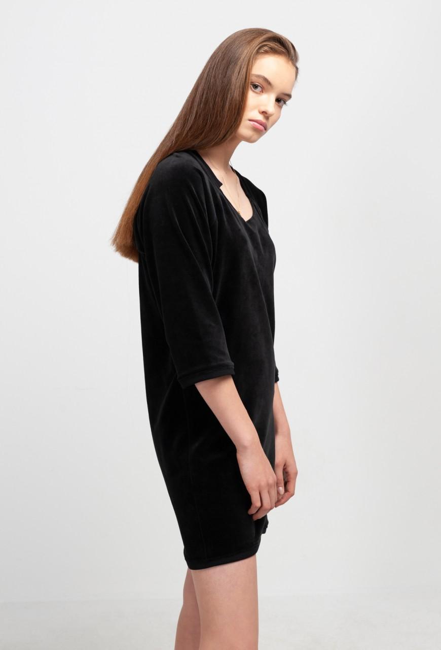 HELEN DRESS cotton velvet black