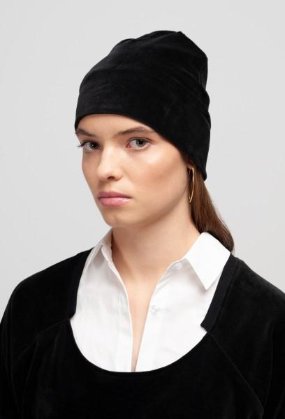 ALVA BEANIE cotton velvet black