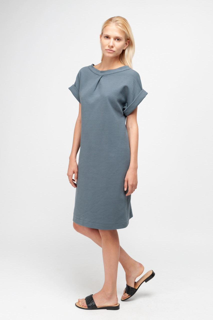CAMILLE DRESS cotton rib slate