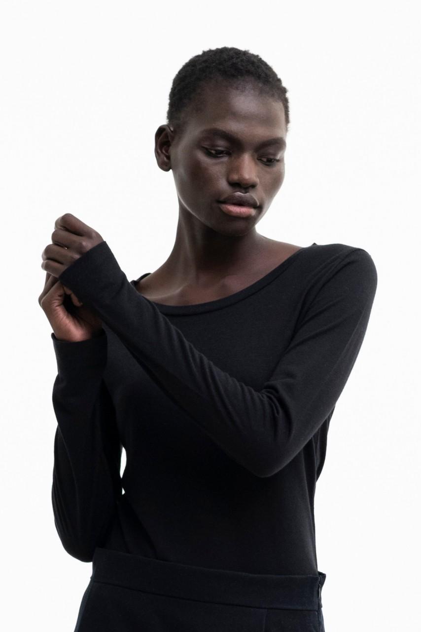 MISTY LONGSLEEVE wool-tencel mix black