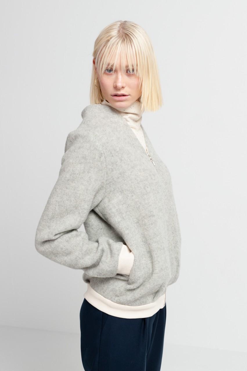 JILL BLOUSON wool dusty grey