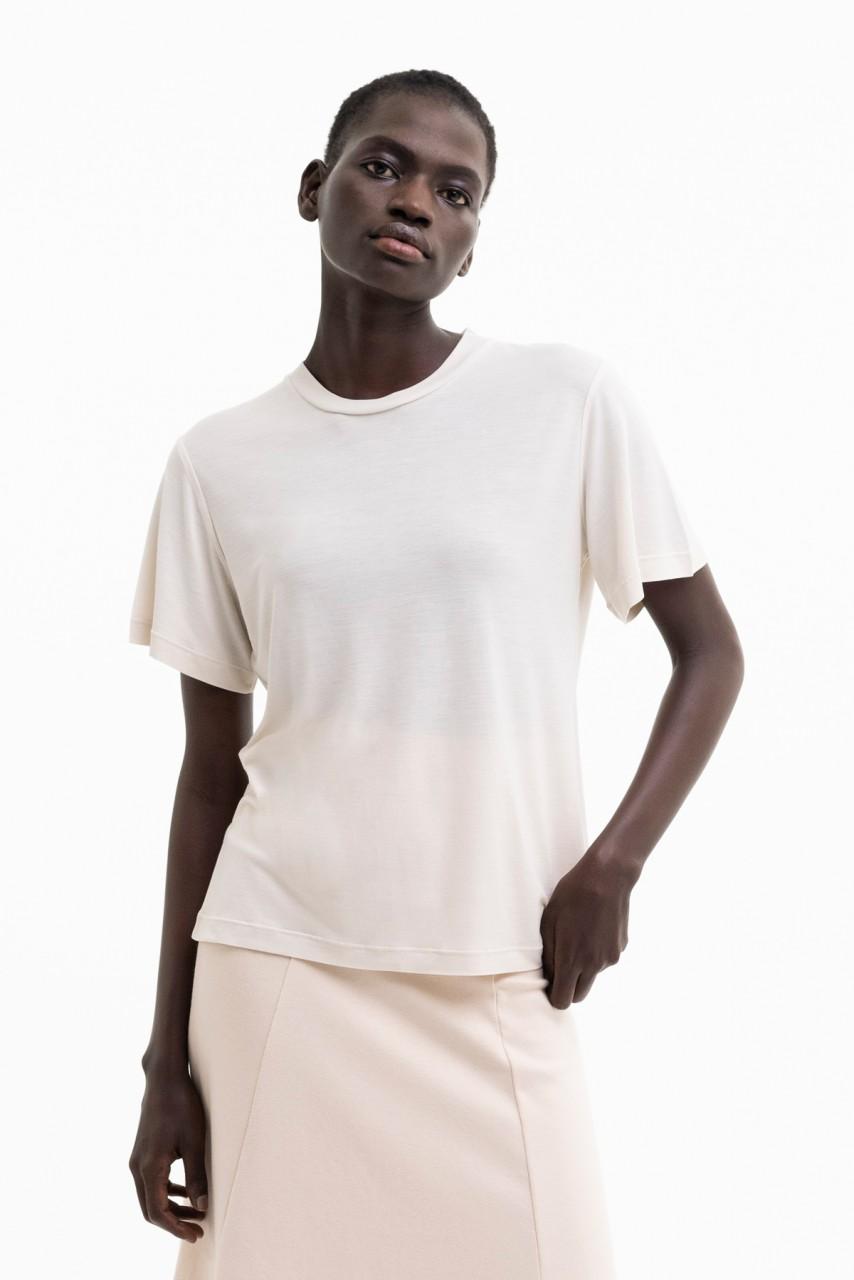 WILMA RELAXED T-SHIRT tencel cream, black & white