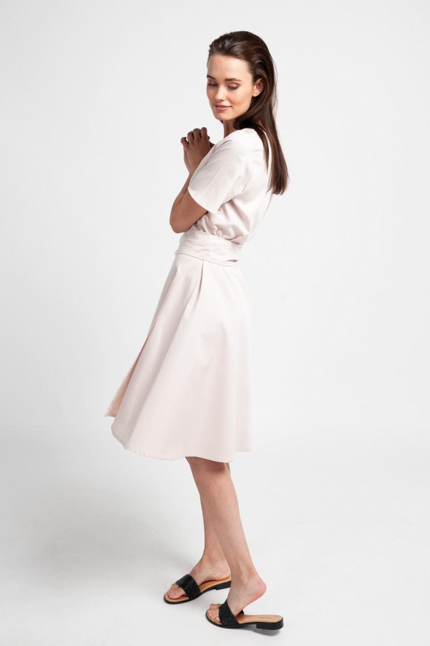 ALICIA DRESS cotton satin almond