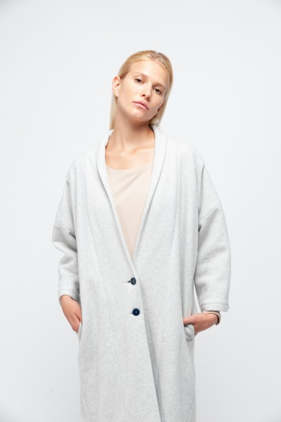 EILEEN COAT cotton fleece dusty grey
