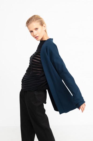 SUSAN BLOUSE velvet stripes black